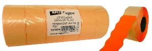 LOT DE 6 ROULEAUX 1000 ETIQUETTES POUR PINCES 26X16 ORANGE SINUSOIDALE