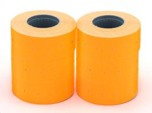 LOT DE 6 ROULEAUX 1000 ETIQUETTES POUR PINCES 21X12 ORANGE ENLEVABLE RECTANGULAI
