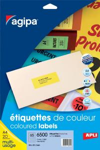 Paquet de 20 étiquettes multi-usage format 210x297mm jaune