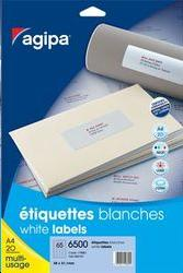 Etiquettes blanches format 55x30mm coins arrondis permanents par 540